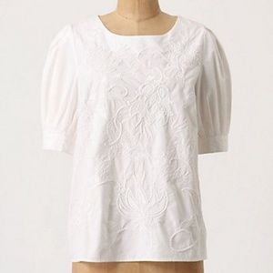 Anthropologie Maeve white embroidered blouse